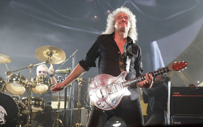 SYDNEY, AUSTRALIA - AUGUST 26:  Brian May of QUEEN and Adam Lambert performs on stage during QUEEN'S first tour of Australia since 1985 at Allphones Arena on August 26, 2014 in Sydney, Australia.  (Photo by Mark Metcalfe/Getty Images)
