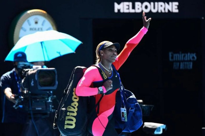 Serena Williams waving to the crowd after her loss to Naomi Osaka at the Australian Open, on Feb 18, 2021.