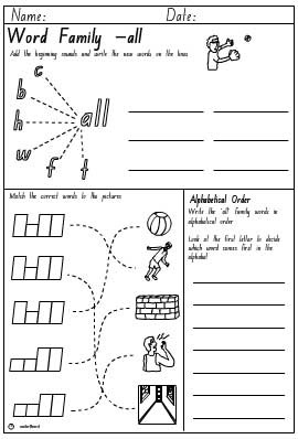 Word Family 'all' Activity Sheet, English skills online