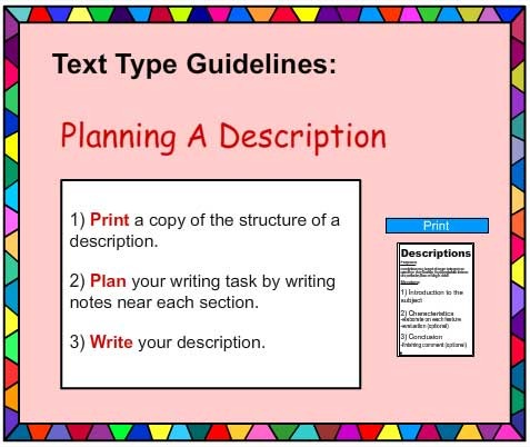 Descriptive Writing Poster English Skills Online