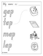 Make a Flip Book: Word Family 'ap', English skills online