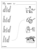 Make a Flip Book: Word Family 'id', English skills online