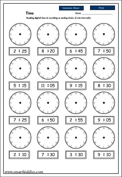 Printable Teaching Clock