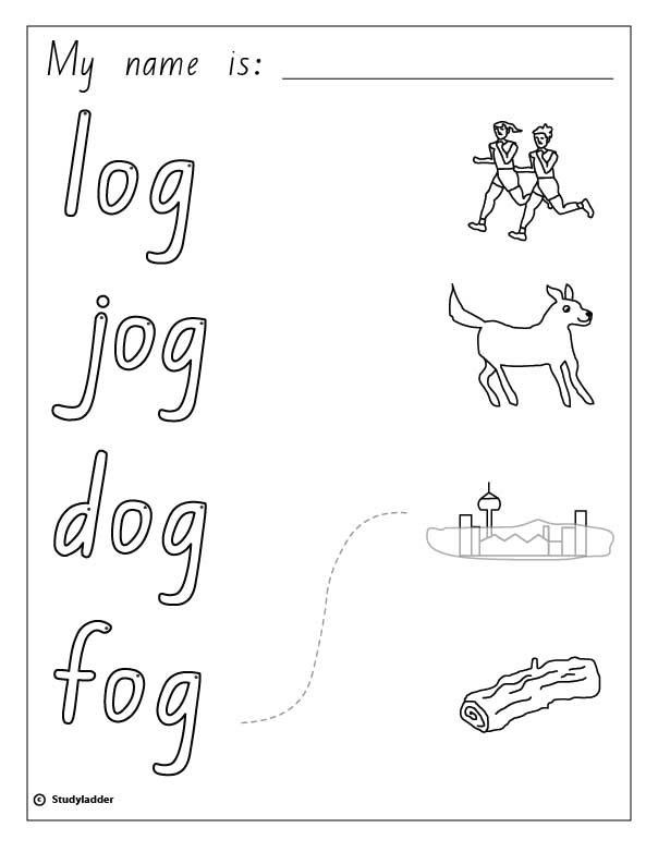 Words and Pictures: log, dog, fog, jog, English skills
