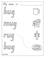 Make a Flip Book: Word Family 'ug', English skills online