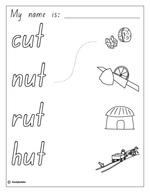 Make a Flip Book: Word Family 'ut', English skills online