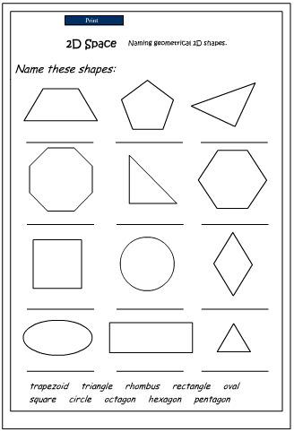 Naming 2D Shapes, Mathematics skills online, interactive