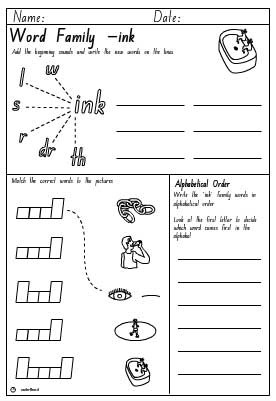 Word Family 'ink' Activity Sheet, English skills online