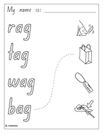 Make a Flip Book: Word Family 'ag', English skills online