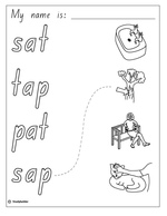 Cut, Paste and Write: The word 'tap', English skills