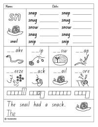 Sn Consonant Blends Worksheets For Kindergarten. Sn. Best ...