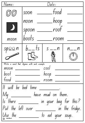 Vowel Digraphs Oo As In Moon Activity Sheet
