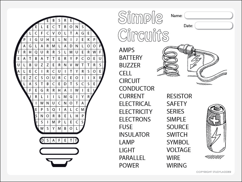 Simple Circuits Word Search, Theme Based Learning skills
