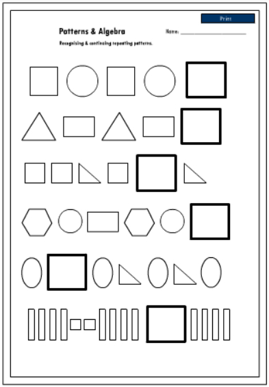 Recognizing and continuing shape patterns, Mathematics