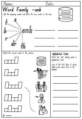 Word Family 'ank' Activity Sheet, English skills online