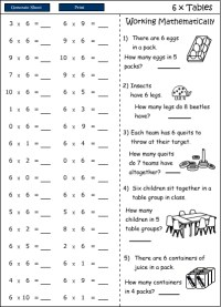 6x Multiplication facts (times tables) - Studyladder ...