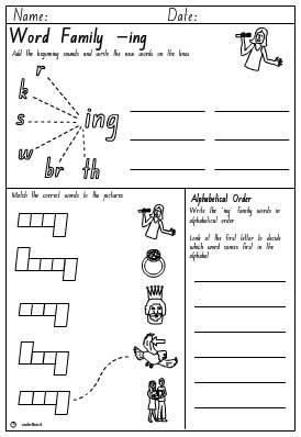 Word Family 'ing' Activity Sheet, English skills online