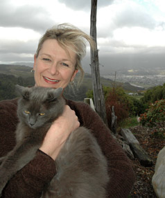 Maxine Robb with her cat Bouffey