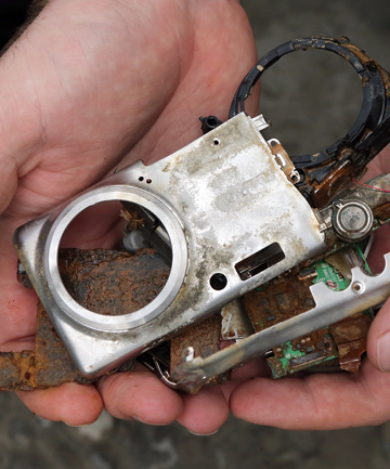 CAMERA OBSCURED: The camera Martin Burley dug up from his driveway.