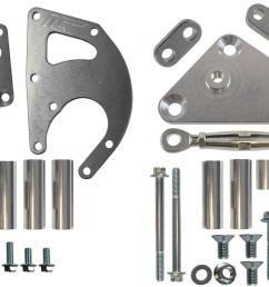 ict billet alternator power steering bracket kits 551396 3 free shipping on orders over 99 at summit racing [ 1296 x 864 Pixel ]