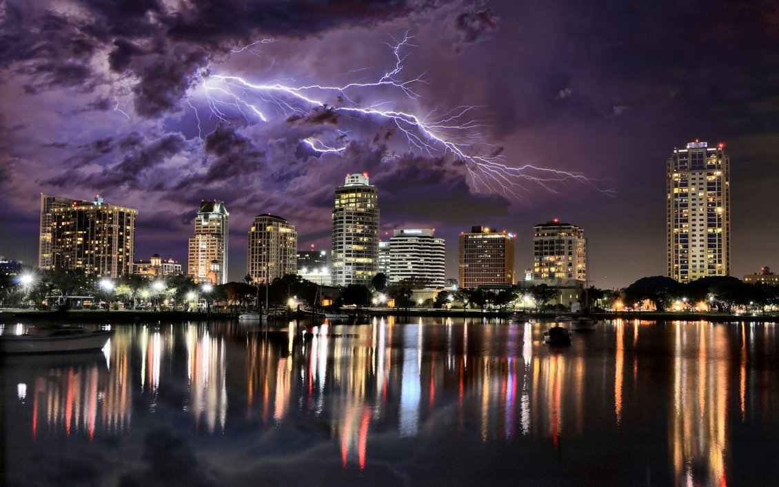 Lightning Over City HD