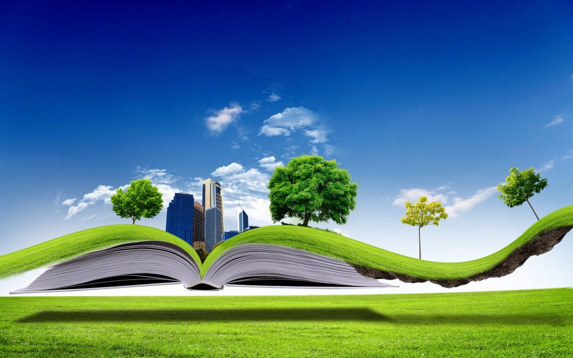 All Nature In One Book 3D Wallpaper
