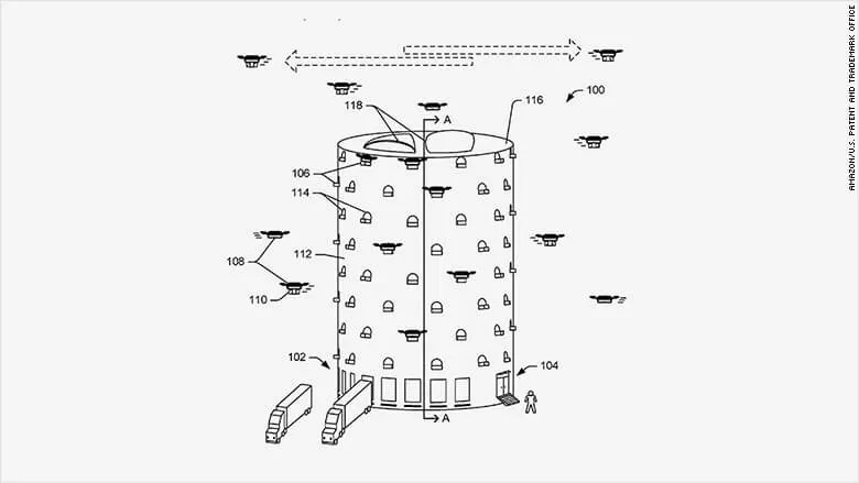 Amazon patent application envisions building beehive-like