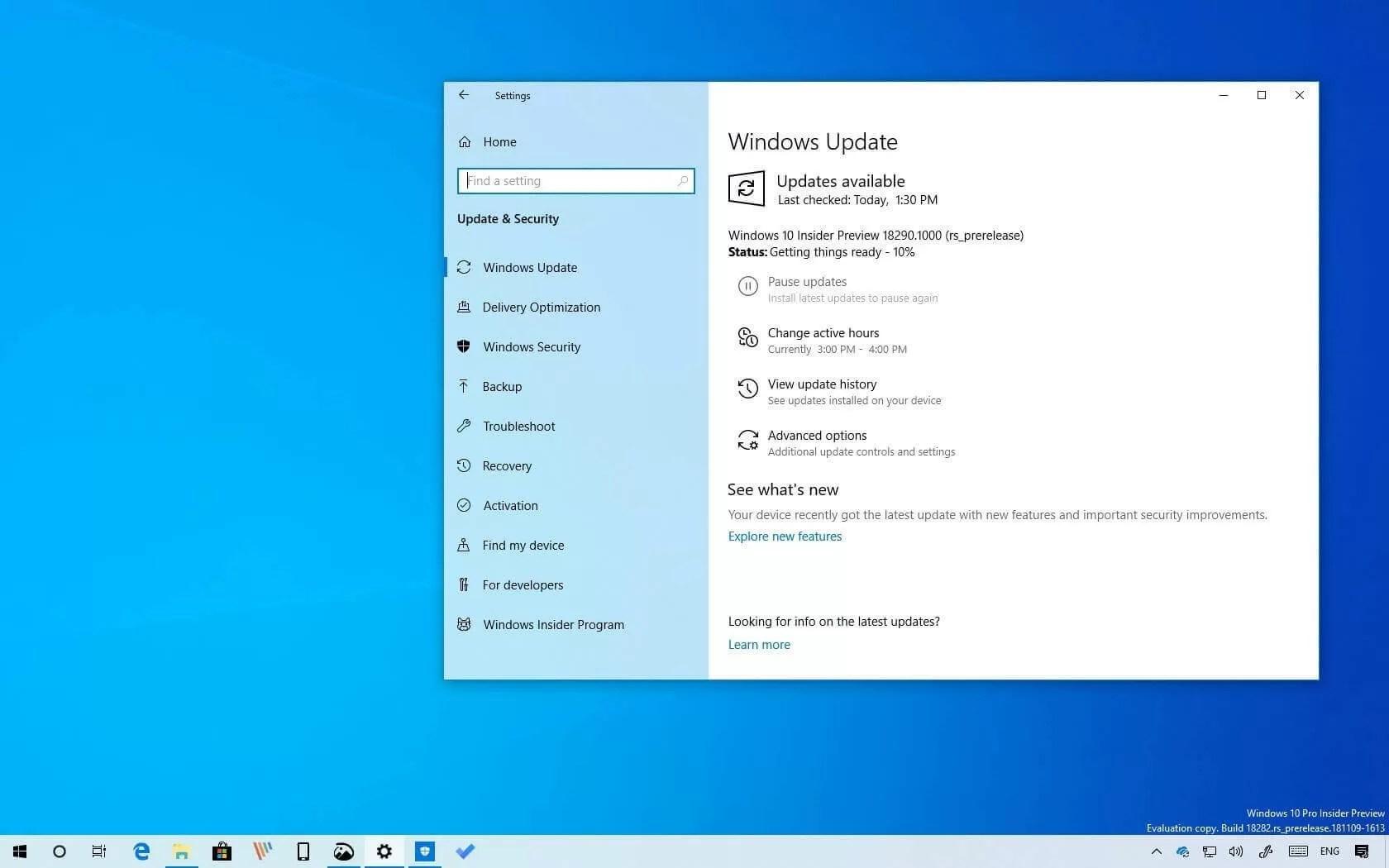 windows updates are at