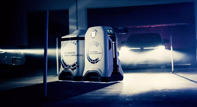 Volkswagen is developing an adorable EV charging robot