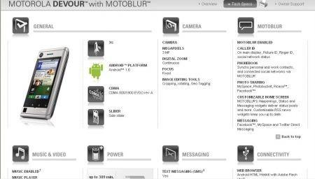 Motorola Devour con Motoblur: specifiche tecniche ed