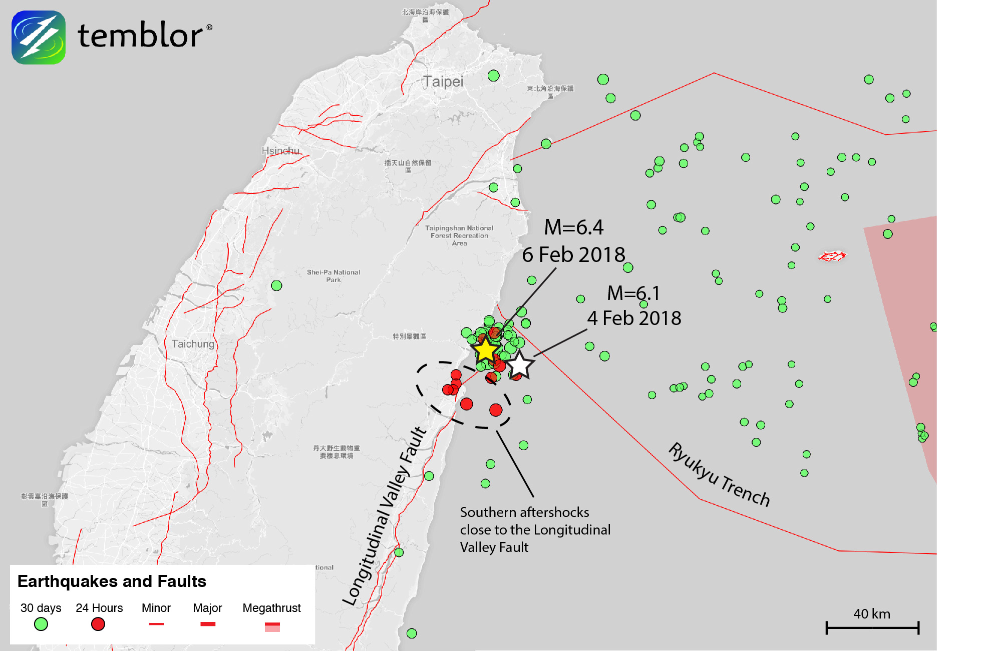 This Temblor map shows the location of the recent earthquake on Taiwan's  eastern coast. Both of the recent M=6+ quakes occurred at the northern tip  of the ...