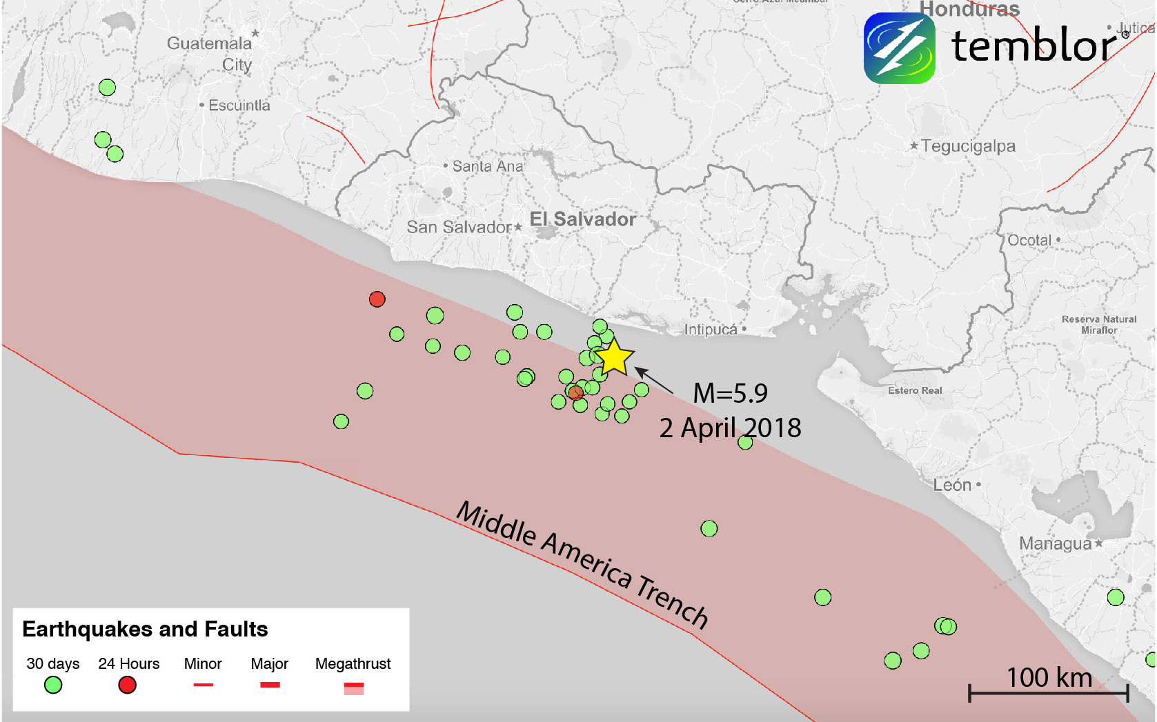 This Temblor map shows the location of Monday's M=5.9 earthquake off the  coast of El Salvador. Fortunately this earthquake did not cause damage, ...