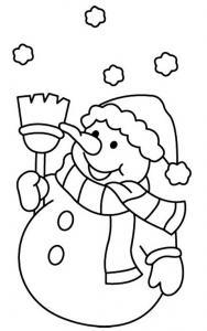 Coloriages et dessins sur le bonhomme de neige - Tête à