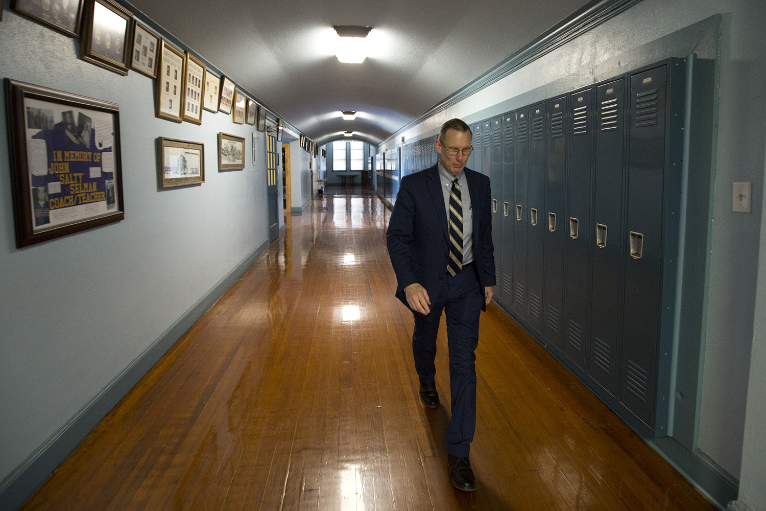 Harrold ISD Superintendent David Thweatt, in the K-12 school. Thweatt created the Guardian Plan, which allows chosen educators to carry on campus.