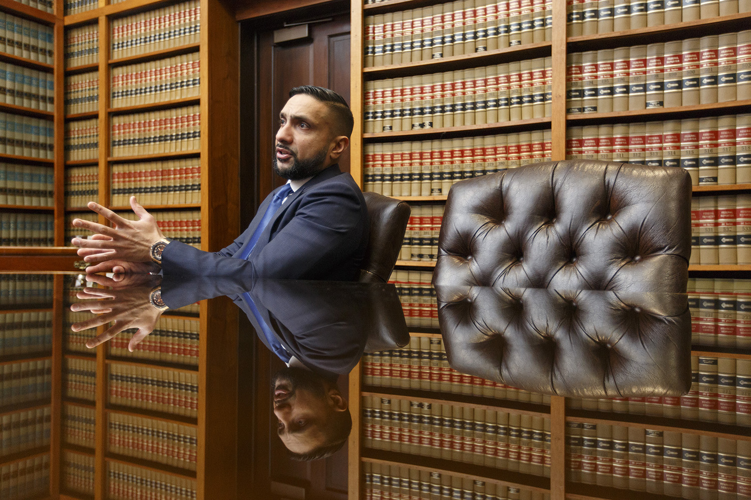 Lawyer Mo Aziz at his Houston office on March 20, 2018.
