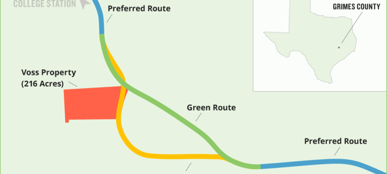 A map of the proposed routes for the Texas 249 toll road extension through Grimes County based on the Texas Department of Transportation's map of the project. The 15-mile stretch through the county, pictured above, is the only part of the planned road that has not be finalized. The larger Texas 249 project seeks to connect Houston and College Station. Photo by Jacob Villanueva.