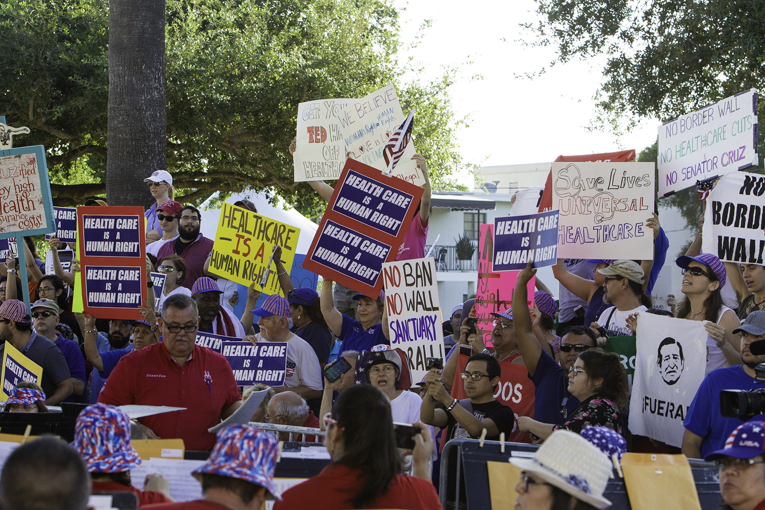 Protesters turned out for U.S. Sen. Ted Cruz's Fourth of July visit to McAllen.