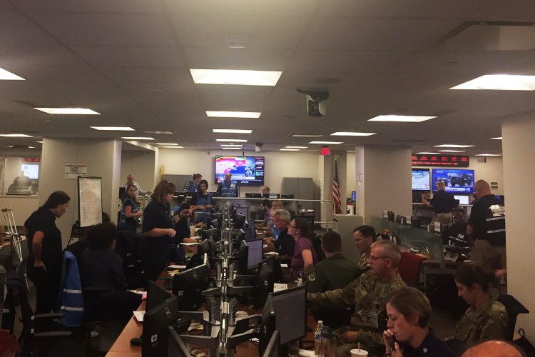 The Federal Emergency Management Agency (FEMA) command post in Washington, D.C. on Sunday afternoon, Aug. 27, 2017, as Harvey continues to dump historic amounts of water on parts of Texas.