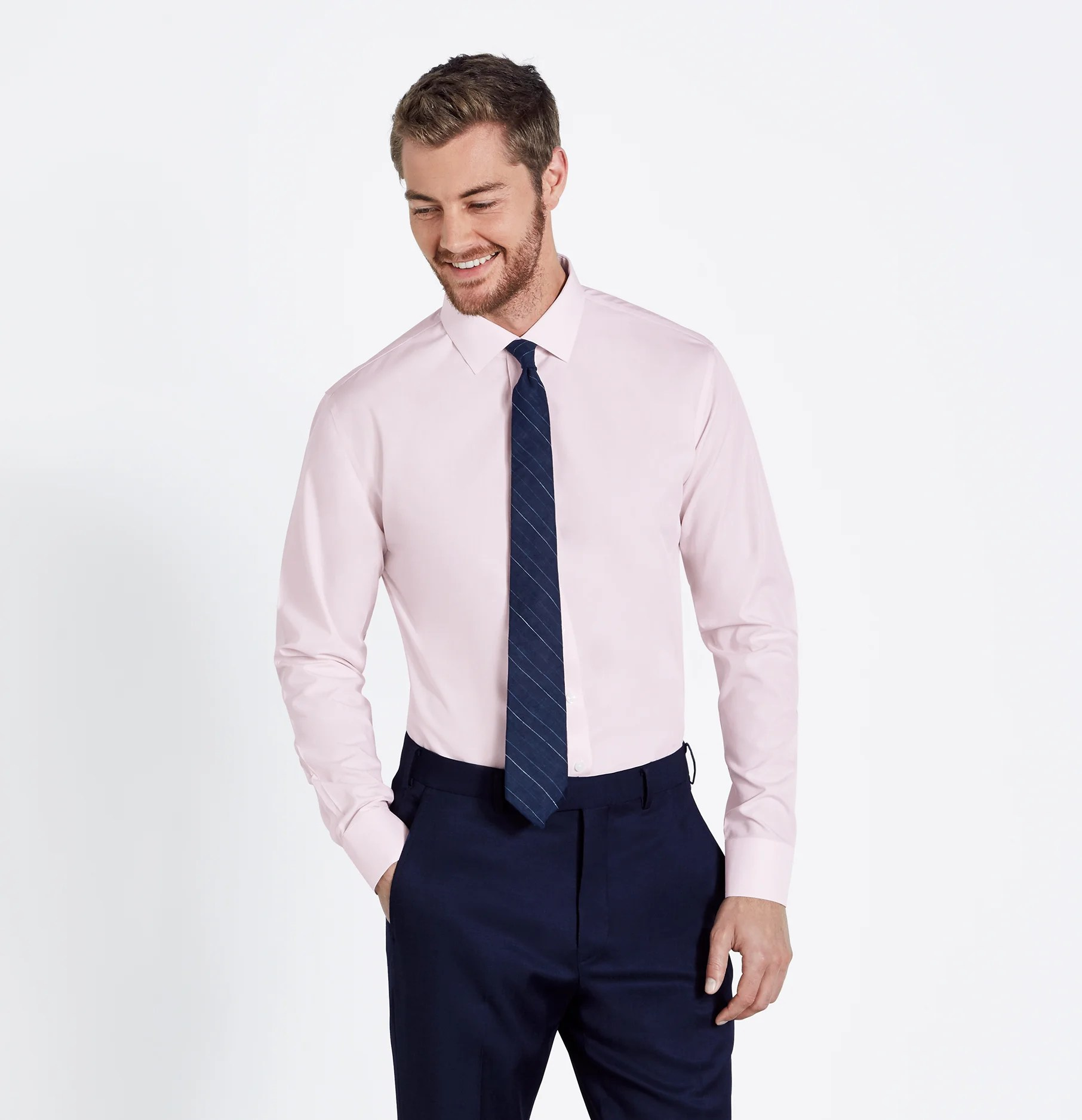 Light Pink Dress Shirt Black Suit
