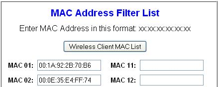 Add MAC Address List
