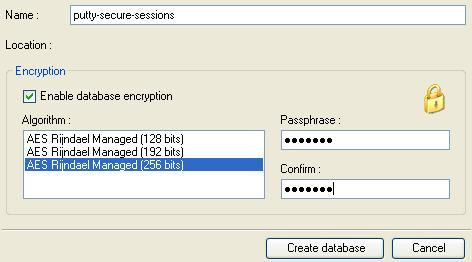 Create Encrypted PuTTY Database