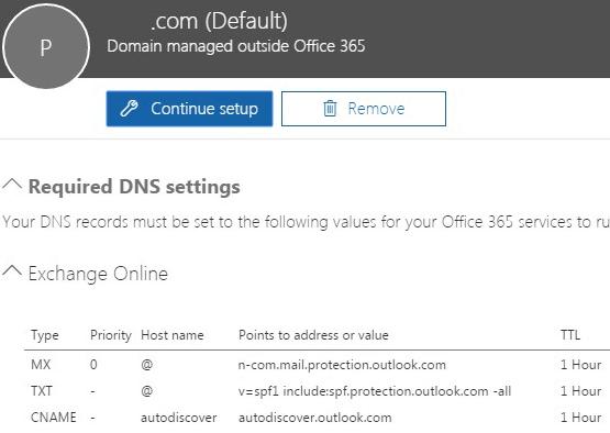 Office 365 DNS MX Records