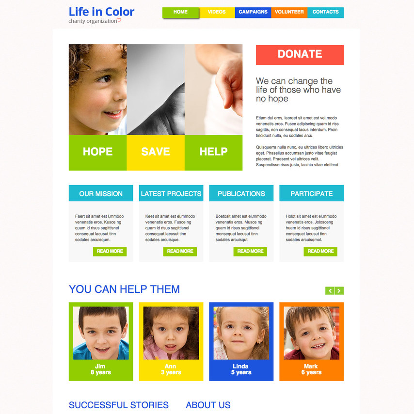 Sometimes, to do things right for your nonprofit, you just need something to get started. Colorful Charity Free Responsive Template