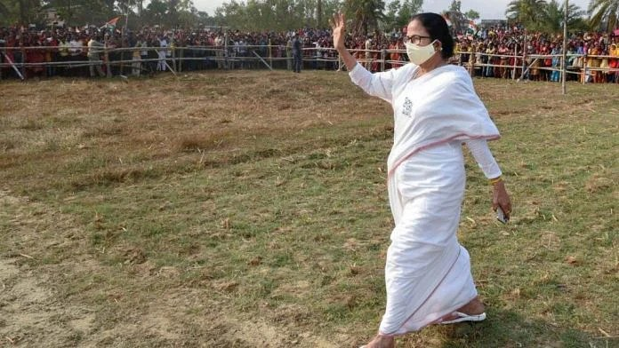 File photo of West Bengal Chief Minister Mamata Banerjee campaigning in Nandigram, on 9 March 2021