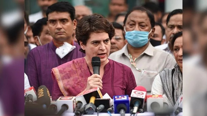 AICC General Secretary Priyanka Gandhi Vadra addresses a press conference at the party office in Lucknow Friday, on 16 July 2021   PTI