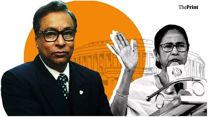 Former IAS officer Jawhar Sircar (left) was nominated by West Bengal CM Mamata Banerjee (right) to the Rajya Sabha   Graphic by Soham Sen   ThePrint