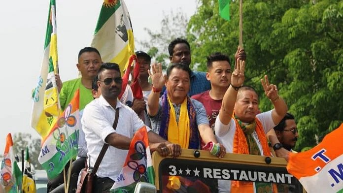 File photo of Gorkha Janmukti Morcha chief Bimal Gurung campaigning in the assembly elections   By special arrangement