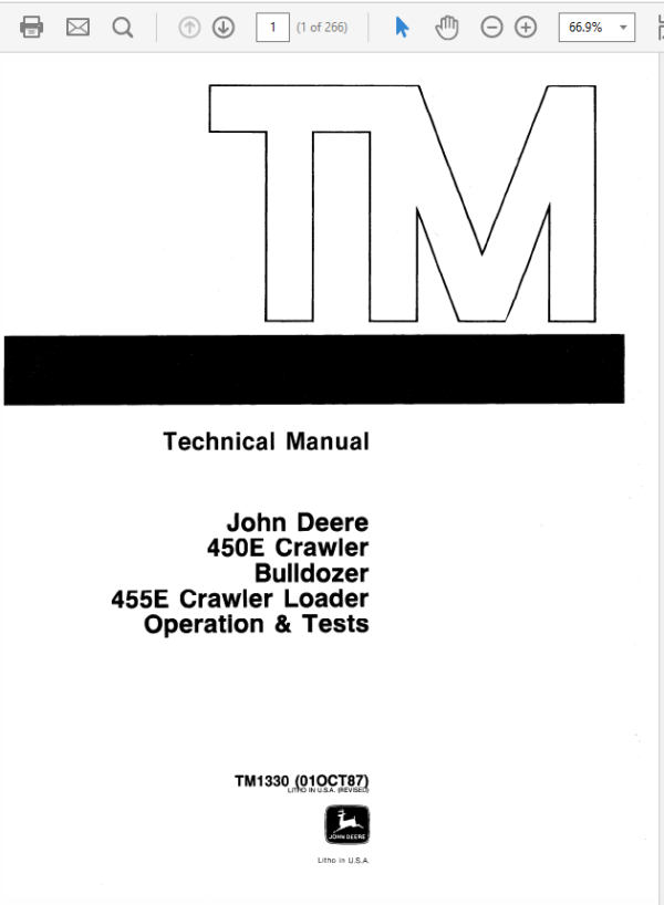 John Deere 450E, 455E Crawler Bulldozer Loader Service Manual