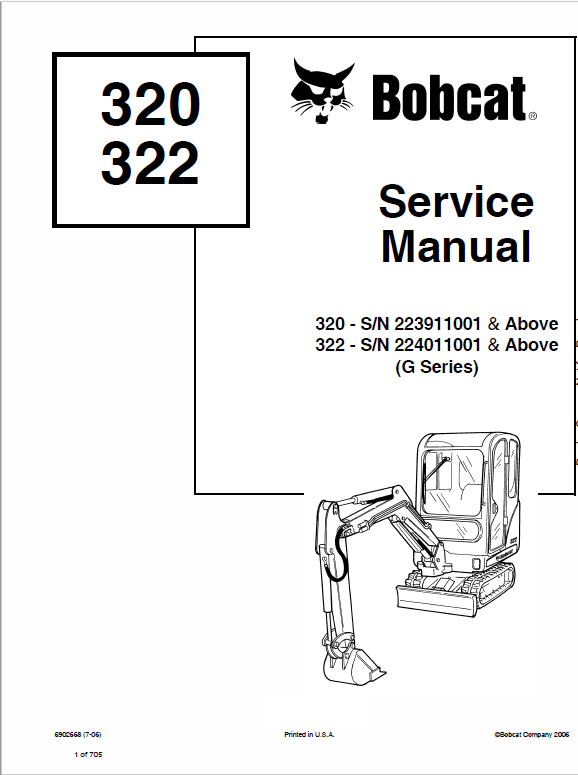 Bobcat 320, 320L and 322 Excavator Service Manual