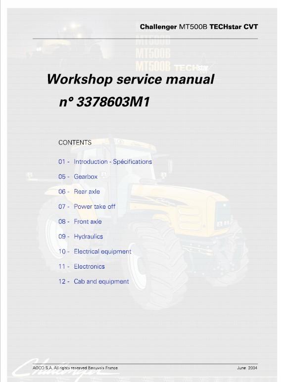 Challenger MT565B, MT575B, MT585B, MT595B Tractor Workshop